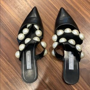 ZARA black mules with pearls